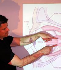 Nigel Howard pointing at diagram of eye